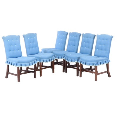 Six Chippendale Style Cherrywood Dining Side Chairs, 20th Century