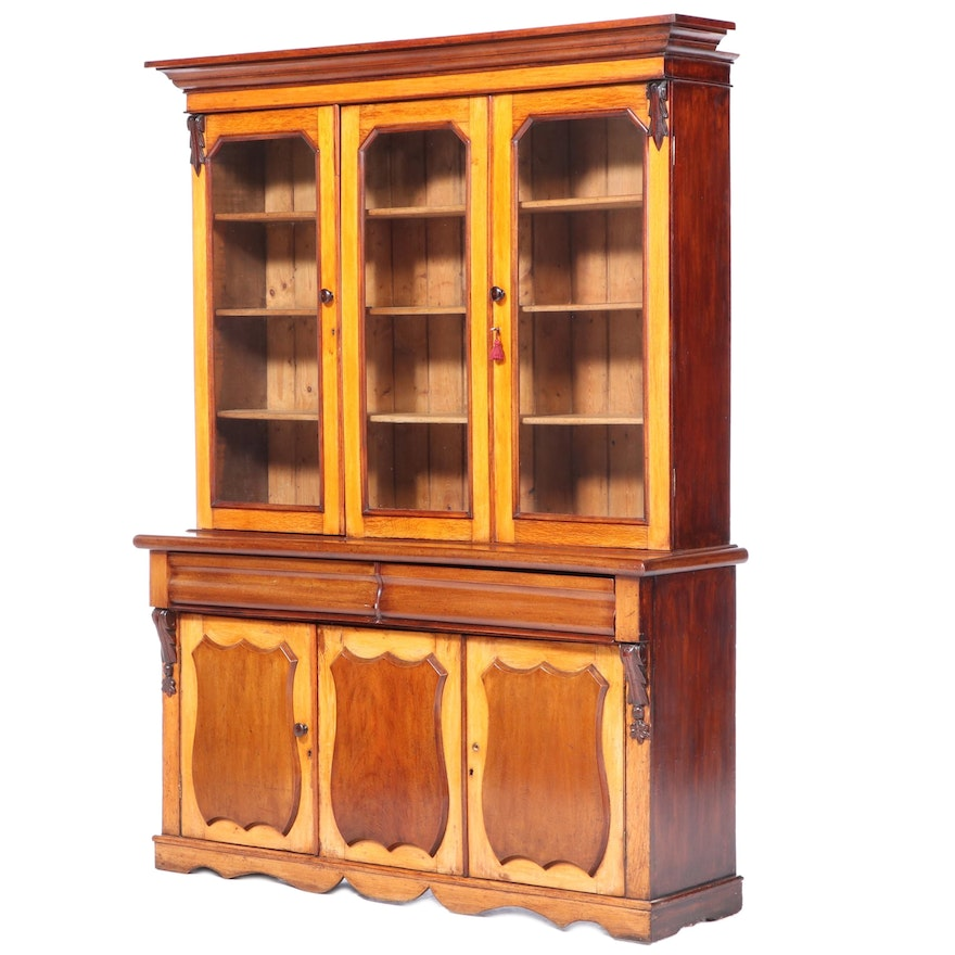 South German Fruitwood and Oak Bookcase, 19th Century