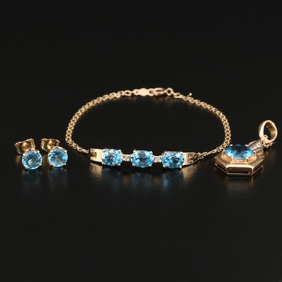 14K Topaz and Diamond Enhancer Pendant, Bracelet and Earring Set