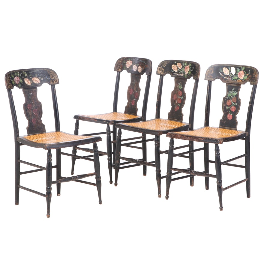 """Four American Ebonized, Parcel-Gilt, and Polychromed """"Fancy"""" Side Chairs"""