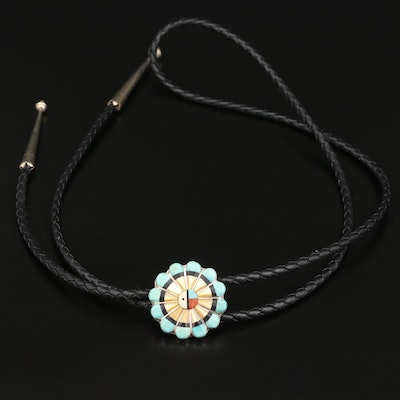 Western Turquoise, Mother of Pearl and Coral Bolo Tie