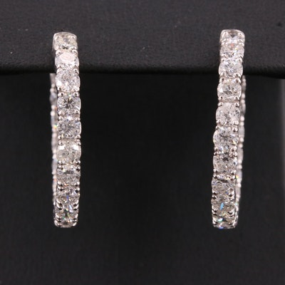 14K 5.40 CTW Diamond Inside-Out Oval Hoop Earrings