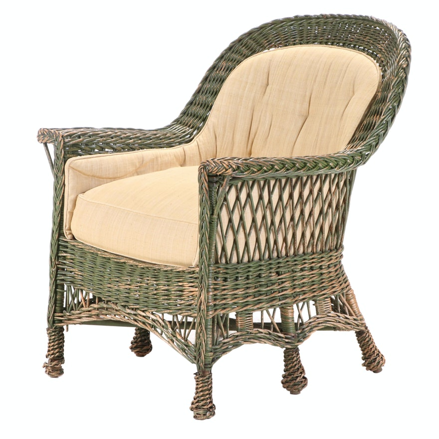 Green-Painted Wicker Armchair, 20th Century