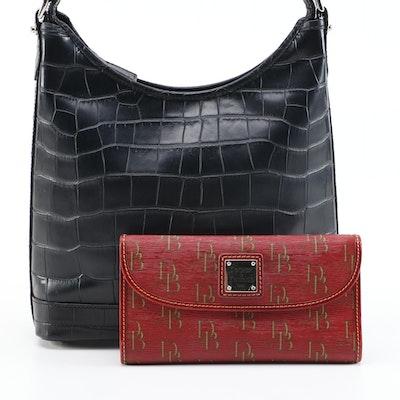 Dooney and Bourke Crocodile Embossed Leather Shoulder Bag with Monogram Wallet