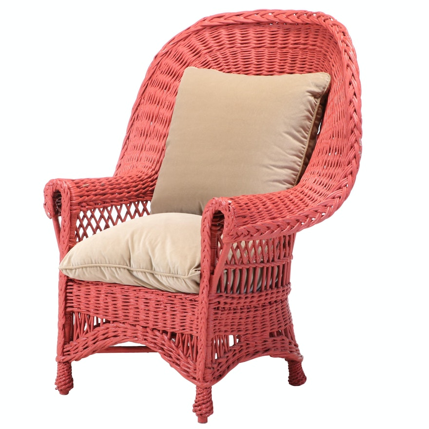 Coral-Painted Wicker Armchair, 20th Century