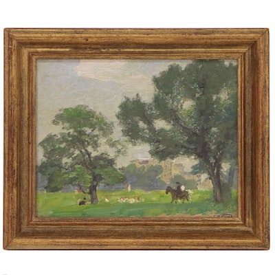 "Edward Henry Potthast Landscape Oil Painting ""In Central Park"""