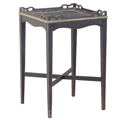 George III Style Ebonized and Paint-Decorated Tray-Top Side Table, 20th Century