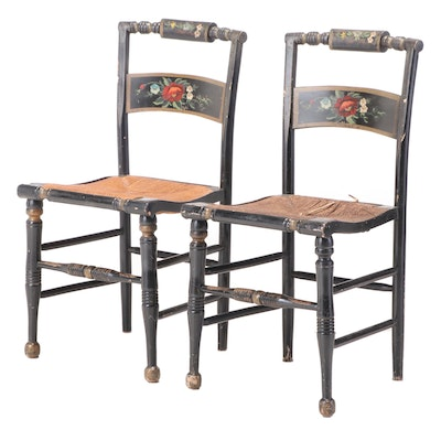 "Pair of American Ebonized, Parcel-Gilt, and Polychromed ""Fancy"" Side Chairs"