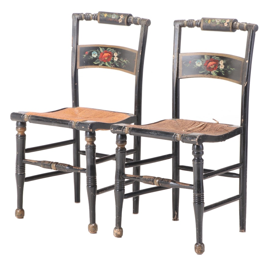 """Pair of American Ebonized, Parcel-Gilt, and Polychromed """"Fancy"""" Side Chairs"""