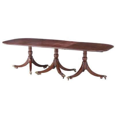 English Mahogany Triple-Pedestal Dining Table, 19th Century