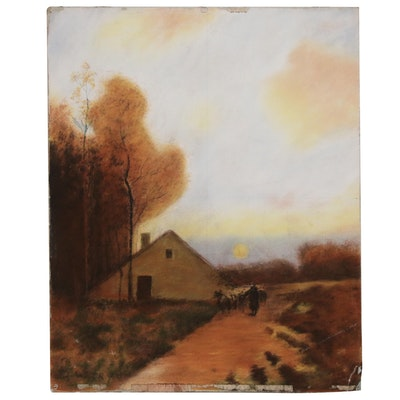 Dwight William Tryon Pastel Drawing of Pastoral Scene