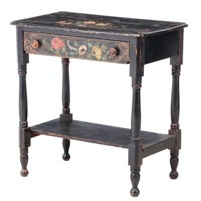 Victorian Ebonized, Parcel-Gilt, and Polychromed Side Table with MOP Inlay