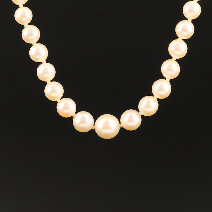 Hand Knotted Graduated Diamond and CulturedPearl Necklace with 18K Clasp