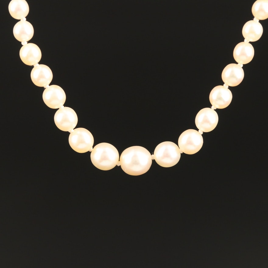 Hand Knotted Cultured Pearl Strand Necklace with 18K Diamond and Sapphire Clasp