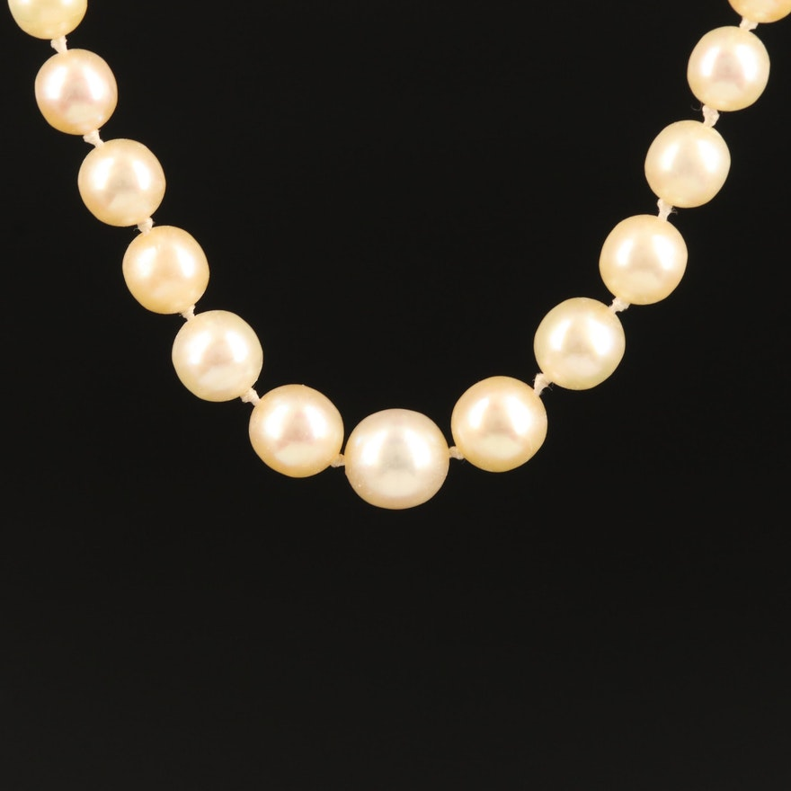 Individually Knotted Graduated Cultured Pearl Necklace with 18K
