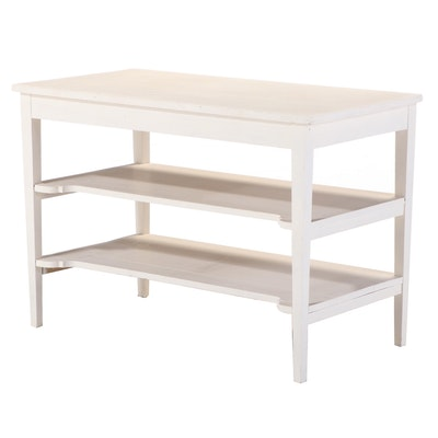 American Primitive White-Painted Three-Tier Side Table, 20th Century