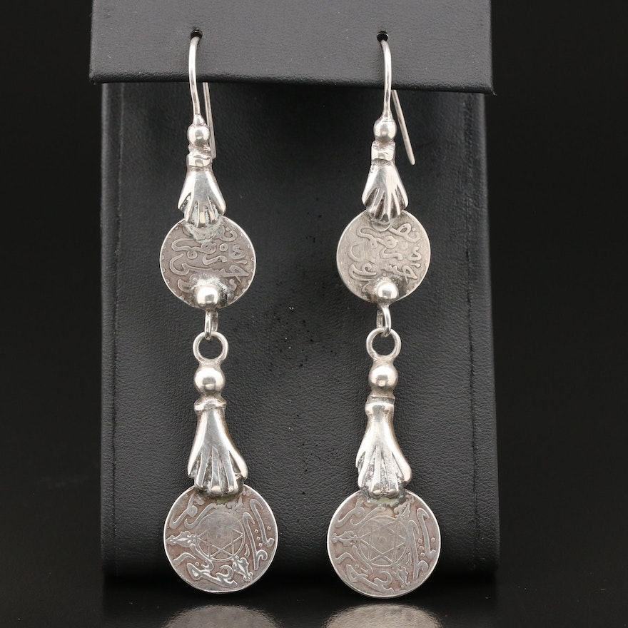 800 Silver Replica North African Coin Dangle Earrings