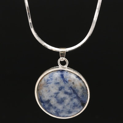 Sterling Silver Square Snake Chain with Sodalite Pendant