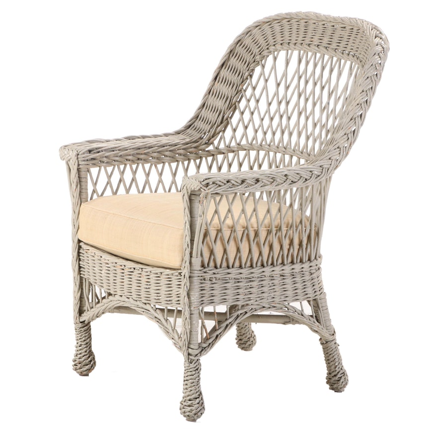 Grey-Painted Wicker Armchair, 20th Century