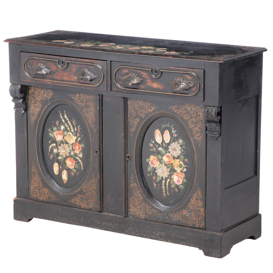 Victorian Ebonized, Parcel-Gilt, and Polychromed Sideboard with MOP Inlay