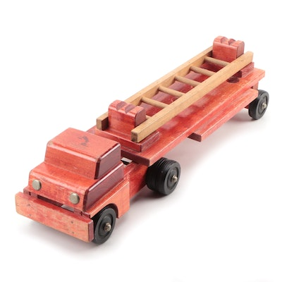 Bench Made Red Painted Wooden Fire Truck with Ladder, Mid-20th Century