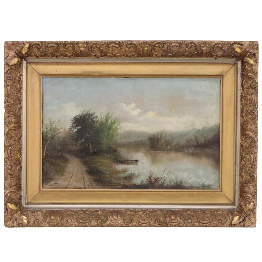 Landscape Oil Painting Attributed to George M. Hathaway