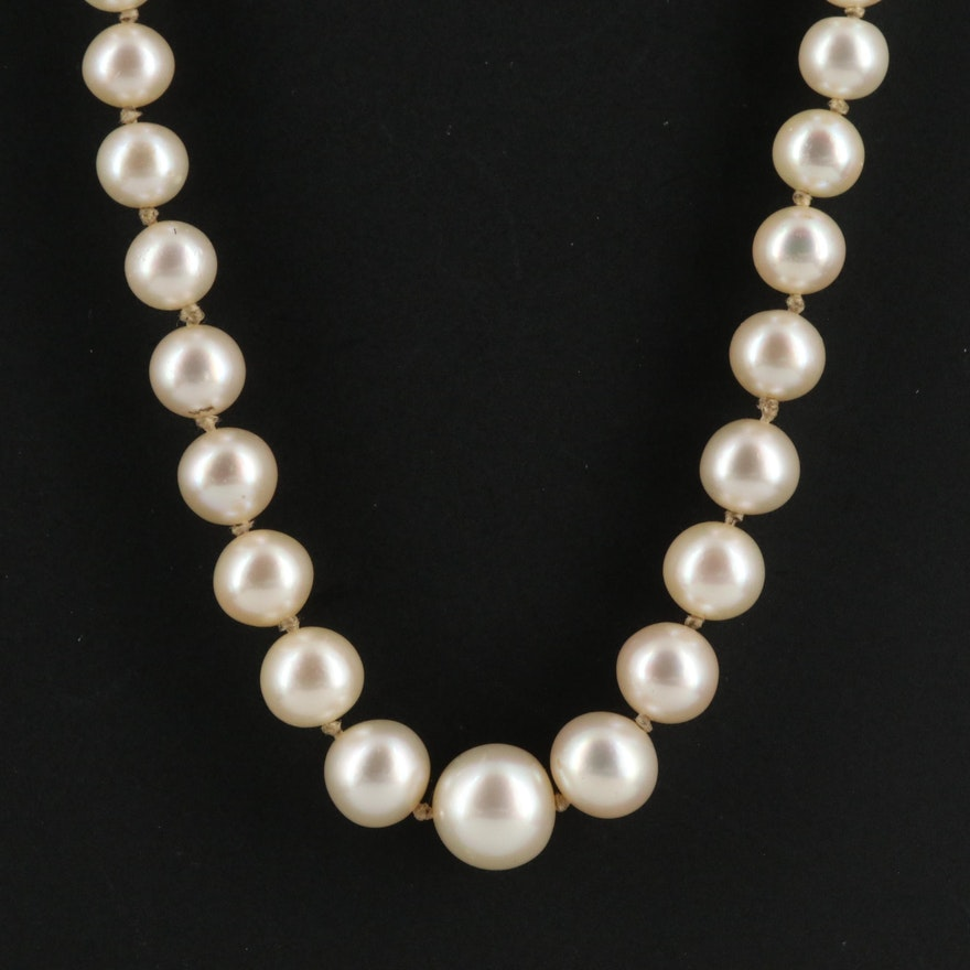 Vintage French Graduated Cultured Pearl Strand Necklace with 18K Clasp