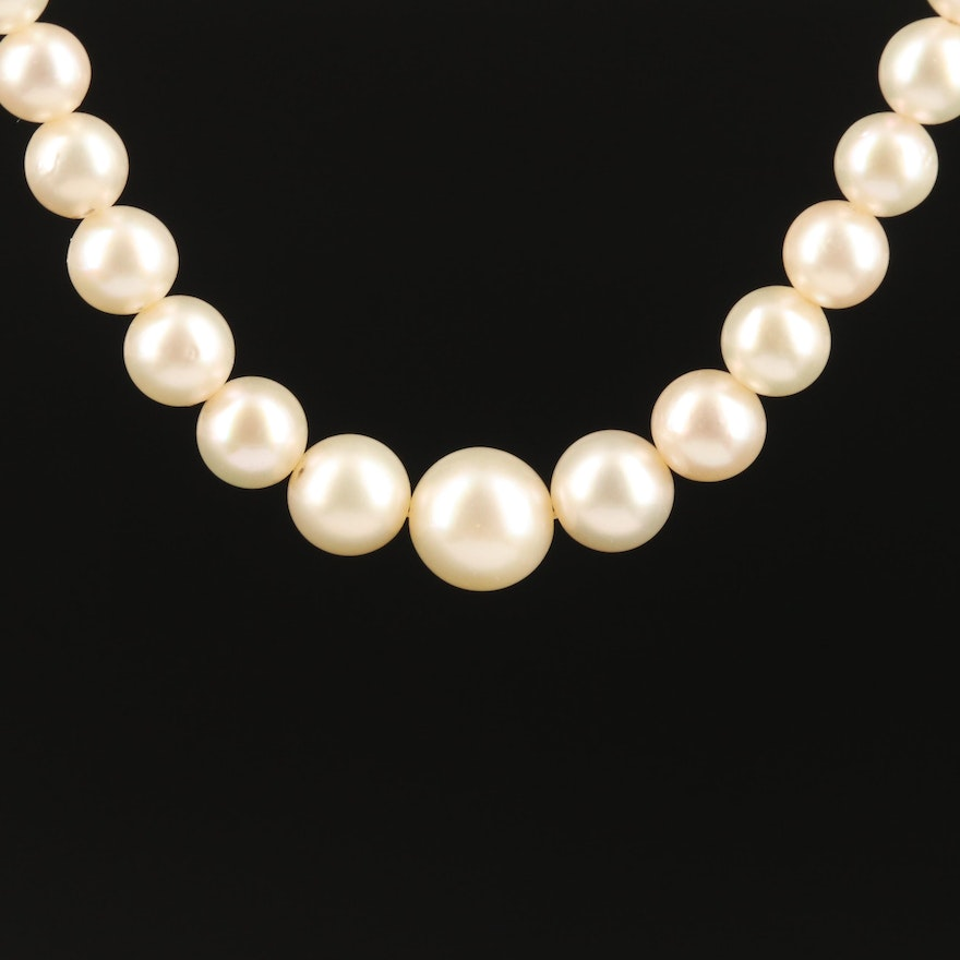 Vintage Pearl Necklace with 18K Diamond Clasp and Sterling Safety Chain