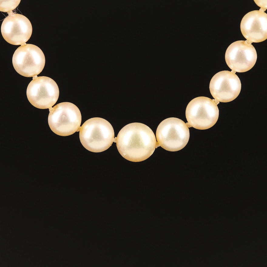 Vintage Graduated Pearl Necklace with 18K Clasp and Safety Chain