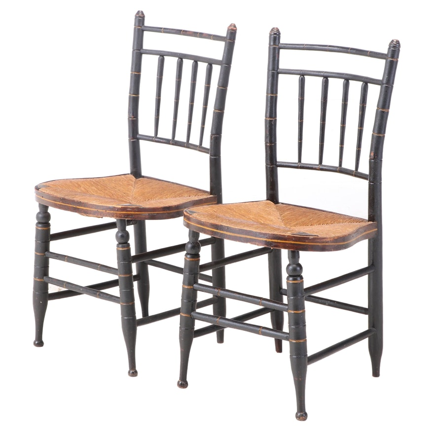 Pair of American Ebonized, Parcel-Gilt, and Simulated Bamboo Side Chairs