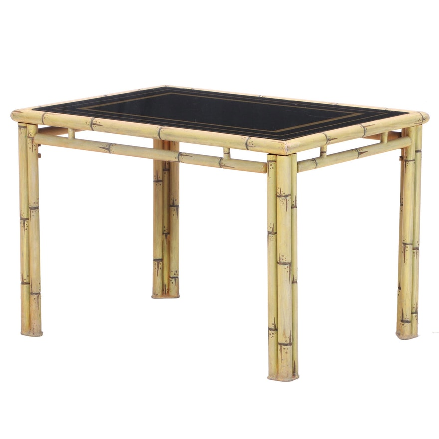 Metal Faux-Bamboo Side Table with Reverse-Painted Glass Top, 20th Century