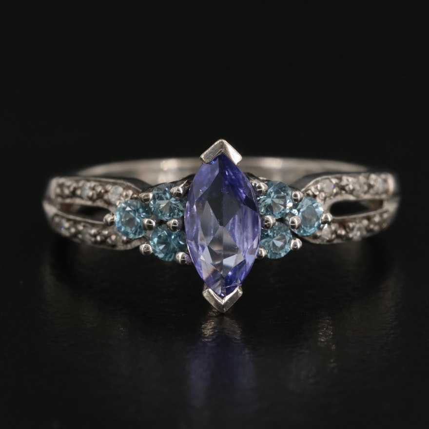 Sterling Tanzanite, Topaz and Diamond Ring