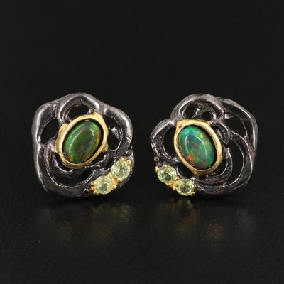 Sterling Opal and Peridot Openwork Earrings