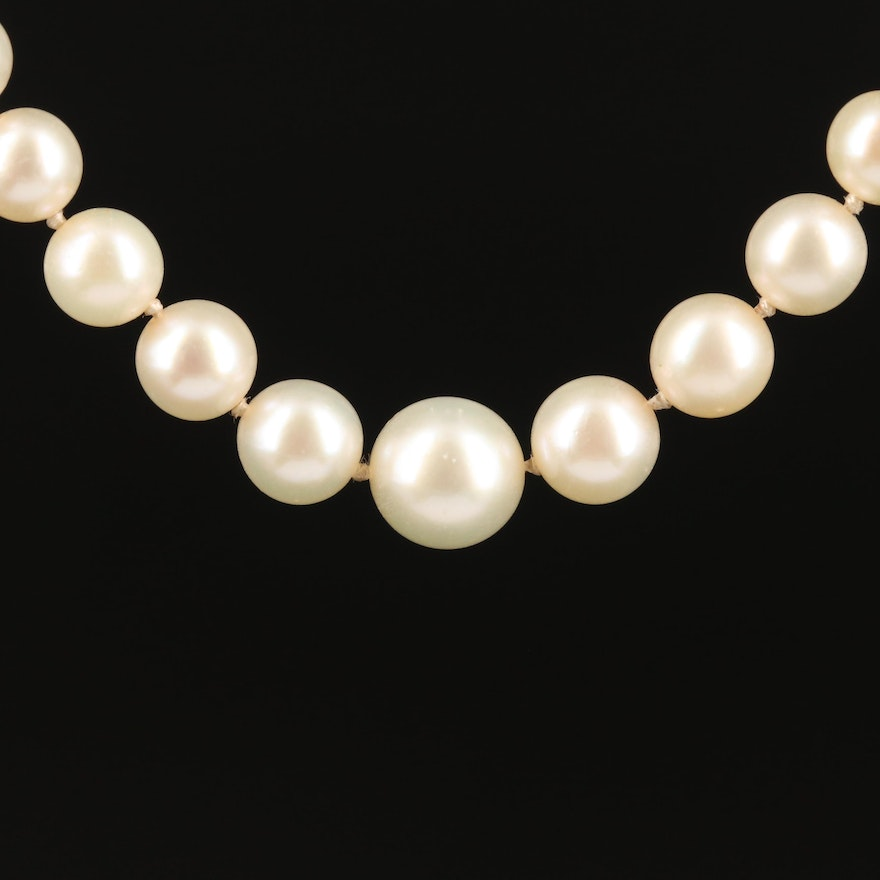 Vintage Graduated Pearl Necklace with Platinum and 18K Diamond Clasp