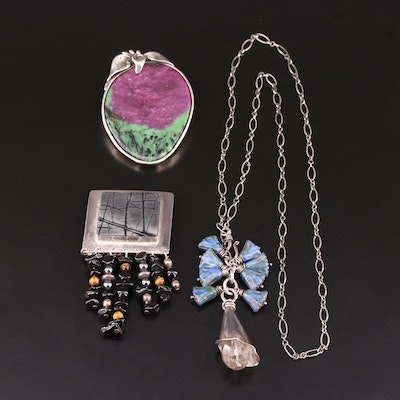 Sterling Silver Gemstone Necklace and Brooches