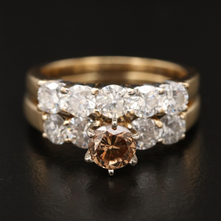 14K Two-Tone 2.33 CTW Diamond Ring and Band Set