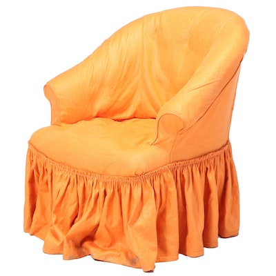 Orange Slip-Covered Tub Chair, 20th Century