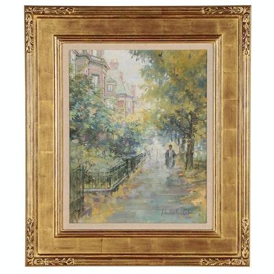 "John Michael Carter Oil Painting ""Commonwealth Street"", 1997"