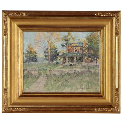 "John Michael Carter Oil Painting ""Victorian House - Sunset"", Late 20th Century"