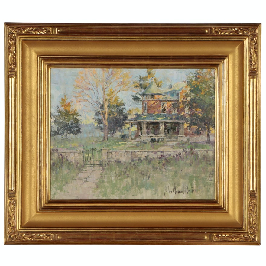 """John Michael Carter Oil Painting """"Victorian House - Sunset"""", Late 20th Century"""