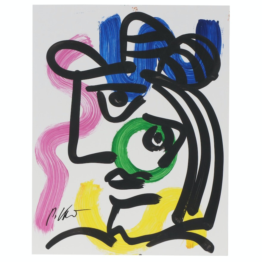 Peter Keil Abstract Portrait Acrylic Painting, Late 20th Century