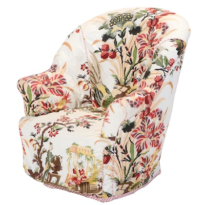 Chinoiserie Slip-Covered Tub Chair, 20th Century