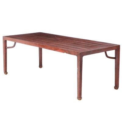 19th Century Chinese Red-Lacquered Painting Table with Humpback Stretchers