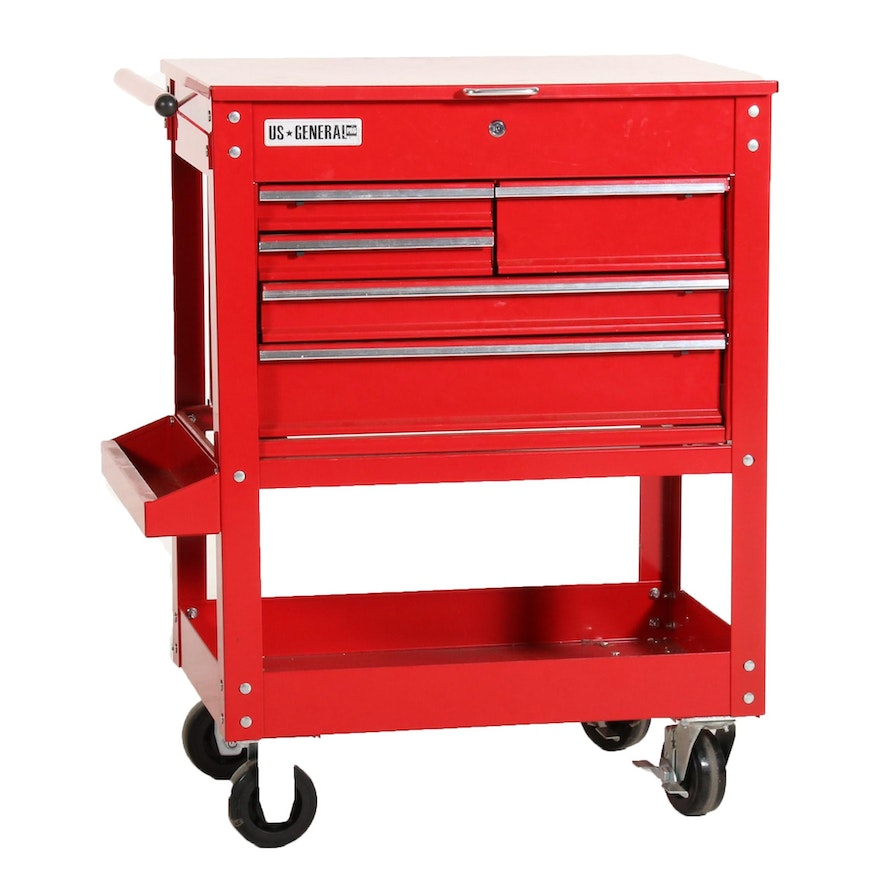 US General Pro Five Drawer Red Metal Industrial Roller Tool Cart
