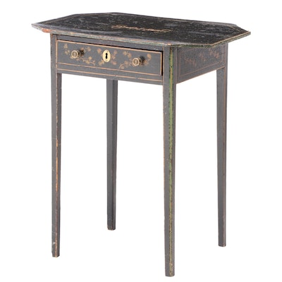 Ebonzed, Parcel-Gilt, and Polychromed Side Table, 19th Century