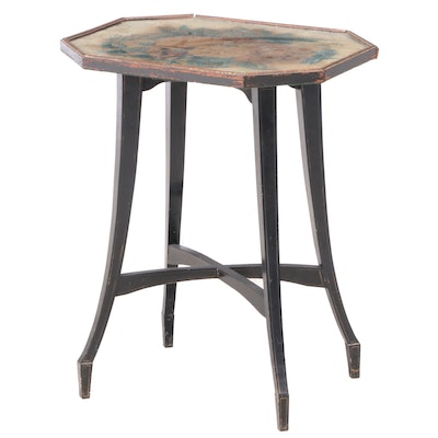 Ebonized and Parcel-Gilt Side Table with Oil on Velvet Theorem Painting