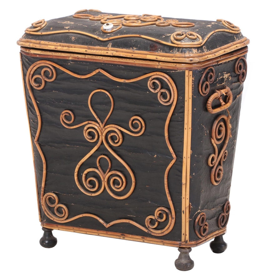 Painted Canvas and Applied Bentwood Kindling Bin, Manner of Thonet