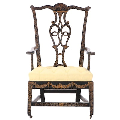 George III Ebonized Mahogany and Gilt-Decorated Armchair, circa 1800