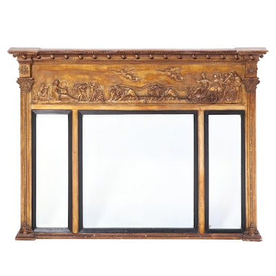 Neoclassical Style Giltwood and Composition Overmantel Mirror, 19th Century