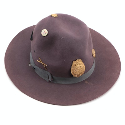 Campaign Brushed Hat with Military and Novelty Police Badges, Mid-20th Century